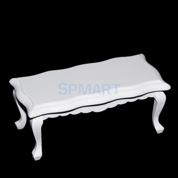 SPMART 1/12 Dollhouse Miniatures Wooden Coffe Table End Table - White ...