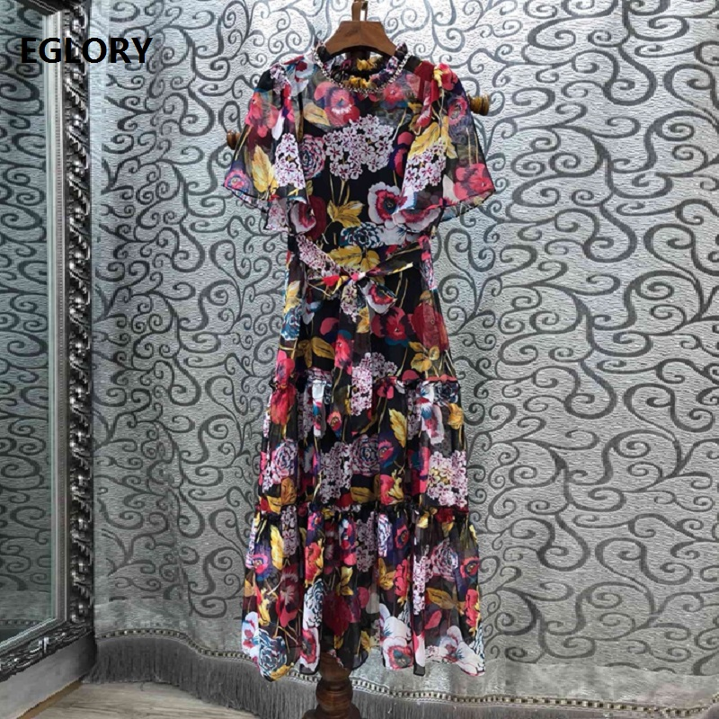 Ruwnay Dress 2019 Spring Summer Fashion Style Women Crystal Beading Ruffle Collar Beautiful Flower Print Short Sleeve Dress Sun