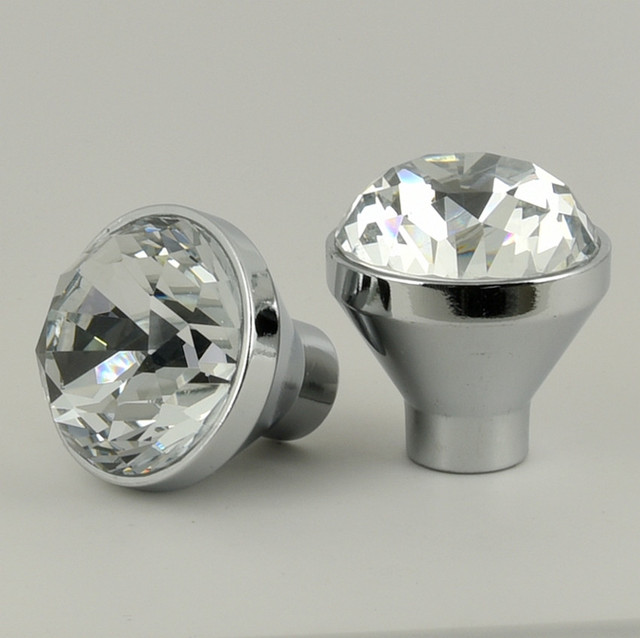 25mm 30mm Glass Diamond Drawer Shoe Cabinet Knobs Pulls Silver Chrome Glass  Crystal Cupboard Dresser Door