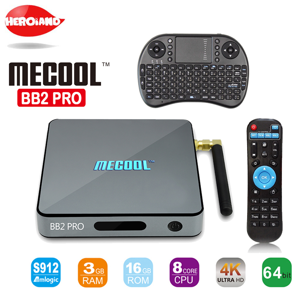 MECOOL BB2 Android TV Box Amlogic S912 64 bit Octa core ARM Cortex-A53 3GB 16GB 4K WiFi BT4.0 2.4G/5.8G Wifi Set-top Boxes