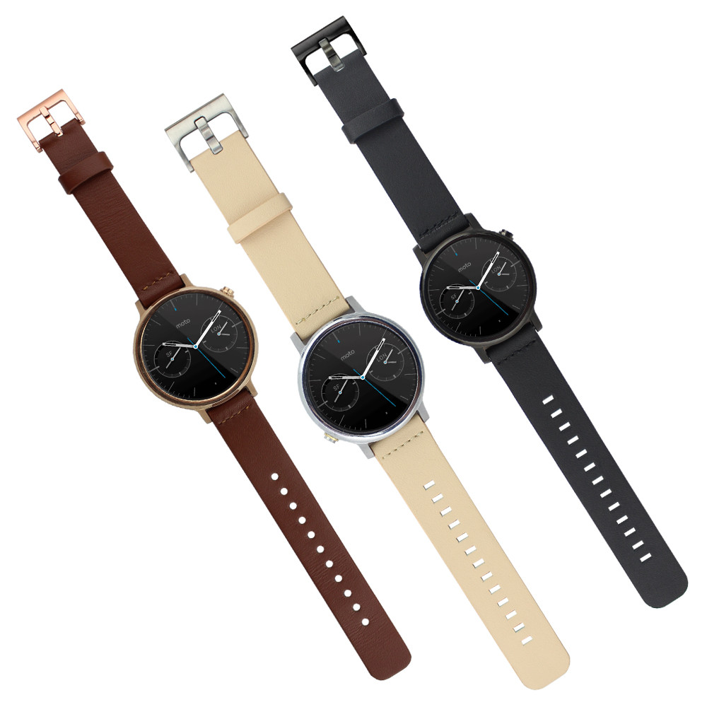 Kimisohand 3 Colors Genuine Leather Watch Band Strap For Motorola Moto Smart Black 360 2nd 22mm