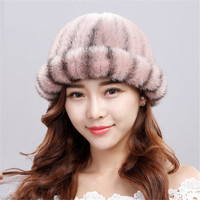 XINYAWEI Authentic Stretch Knit Mink Fur Fur Hat Ladies Winter Warm Hat Natural Black Striped Fur Fashion Square Cap.