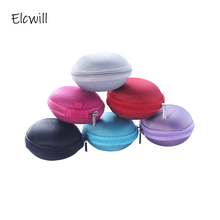 Multi Color Round Storage Bag Box Portable Mini Zipper Case for Earphone Data Cable Key Coin SD TF Cards