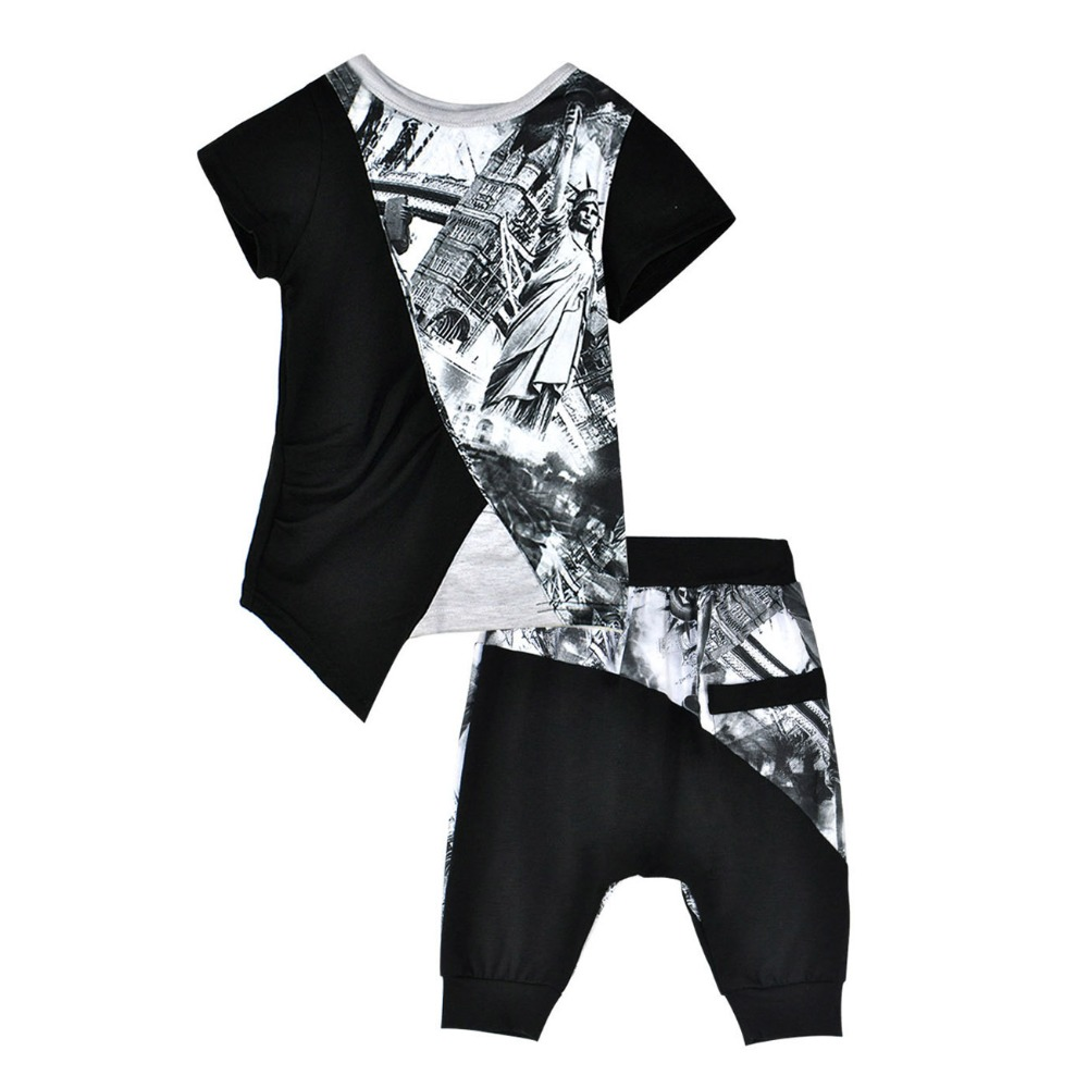 3T-7T Boys Clothes Suit Hip-hop Style Graffiti T-shirt and Harlan Pants 2Pc Boys Clothing Sets Summer 2018 Children Clothing