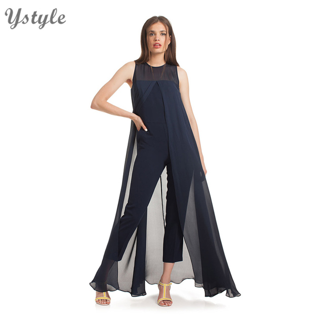 Women's Sexy False 2 Piece Set Chiffon Jumpsuits 2016 Summer Ladies Elegant Sleeveless Navy Blue Bodycon Bodysuit Rompers SD35