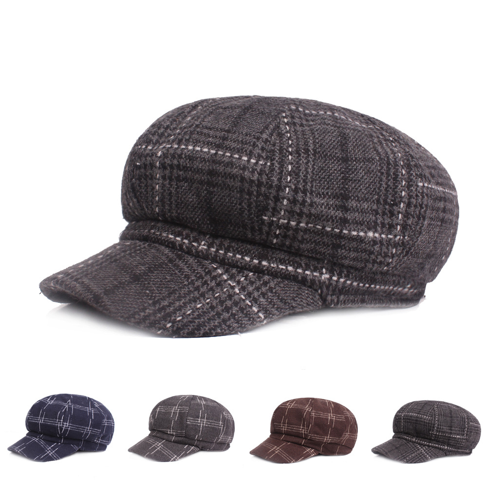 Woolen octagonal cap men and women autumn winter beret winter hat thick warm warm painter hat winter hat