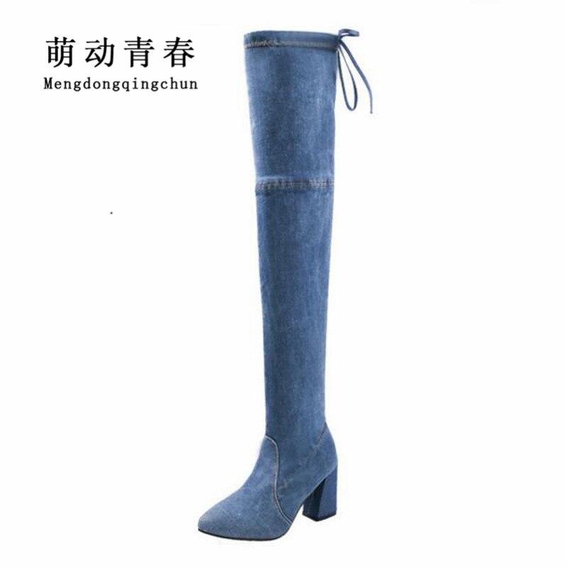 2018 Frauen High Heels Stiefel Heißer Frauen Denim Über Das Knie Spitz Herbst Winter Stiefel Sexy Damen Frauen Spitze Up Jeans Stiefel Schnelle Farbe