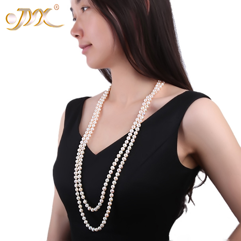 JYX long Pearl Necklace White Round Freshwater Pearl Necklace for Women Two Strand Necklace Fine Jewelry 32