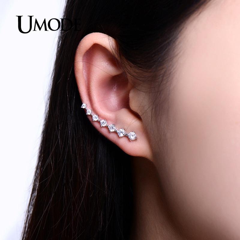UMODE Mode Star Örhänge för kvinnor Rose Vitt Guld Lång Krok - Märkessmycken - Foto 6