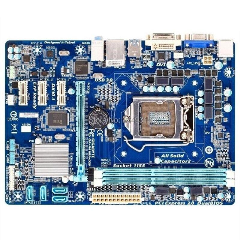 Original For Gigabyte GA-H61MA-D2V Desktop Motherboard H61MA-D2V H61 LGA 1155 I3 I5 I7 DDR3 Micro-ATX 100% Fully Test