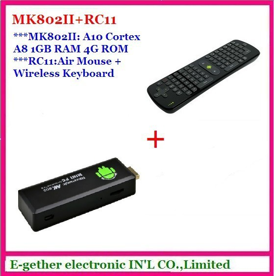 hot sale ! for Rikomagic MK802 II Mini  Android 4.0 TV Box A10 Cortex A8 1GB RAM 4G ROM HDMI TF Card + RC11 Fly air mouse