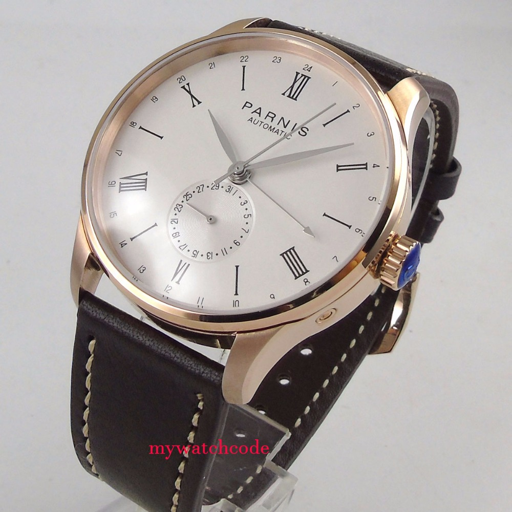 42mm Parnis beige dial 24 Hours sea gull 1690 Automatic Movement Mens Watch