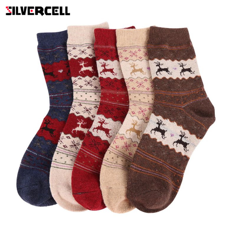SILVERCELL Christmas Gift Snowflake Deer Women Wool Socks Warm Winter Novelty Sock Filler Xmas Gift ht
