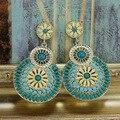 2015 New Design Banhado A Ouro Bohemian brincos de Resina de jóias Vintage oco flor Pingente gota brincos para mulheres brincos