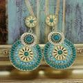 2015 New Design Gold Plated Vintage Bohemian Resin earrings jewelry hollow flower Pendant drop earrings for women brincos