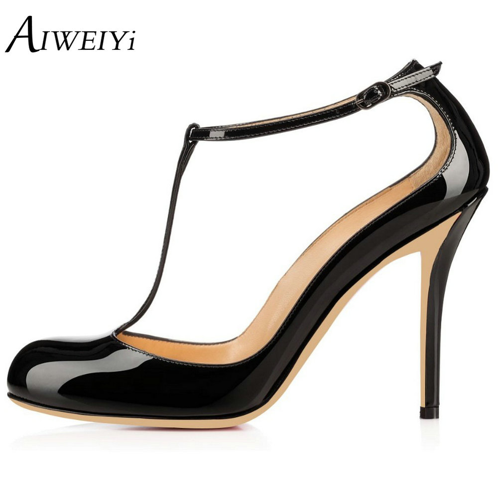 AIWEIYi Shoes Woman 2018 New High Heels Spring Ladies Pumps Patent Leather Round toe T Strap Buckle Strap Ladies Wedding Shoes siketu free shipping spring and autumn high heels shoes career sex women shoes wedding shoes patent leather style pumps g017