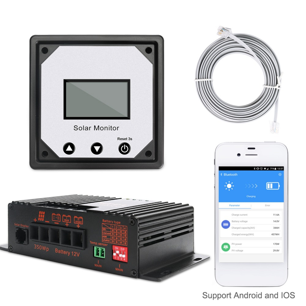 20A 12V APP Bluetooth MPPT Solar Charge Controller Intelligent Solar Controller for RV Boat Car PV Solar Panel Kit 200w 2x100w 12v solar panel 20a lcd intelligent controller 1kw inverter for rv solar generators