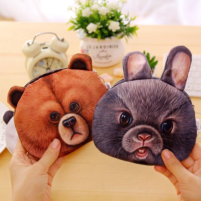 Kawaii Animal Prints Phone Storage Cute Coin Bag 3D Rabbit Panda Bear Wallets Women Zipper Coin Purses Mini Female Coin Handbags