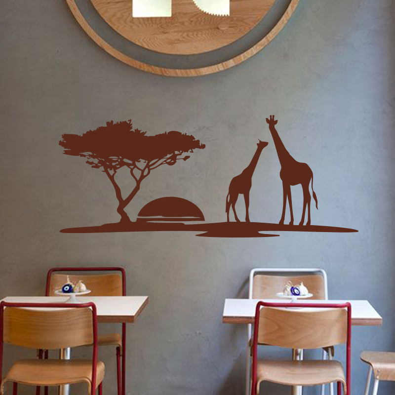 Art design cheap home decoration PVC giraffe wall sticker waterproof vinyl house decor animal decals in kids room kindergarten in Wall Stickers from Home Garden