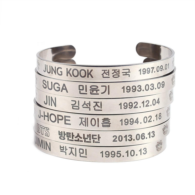 KPOP Titanium Steel Bangtan Boys BTS Members Name Date Cuboid SUGA JIMIN JIN V JUNGKOOK Charm Cuff Bracelet Bangle