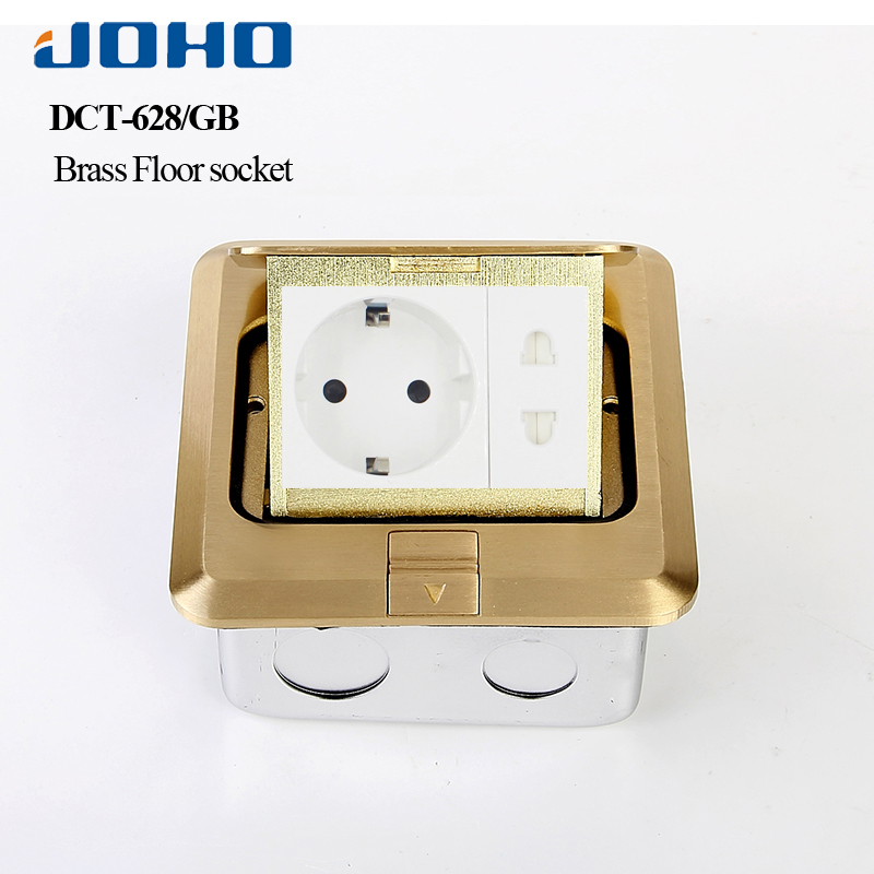 JOHO Socket Pop Up Floor Socket Outlet Box Residential/General Purpose With 16A European Socket And RJ45 Data Brass Panel