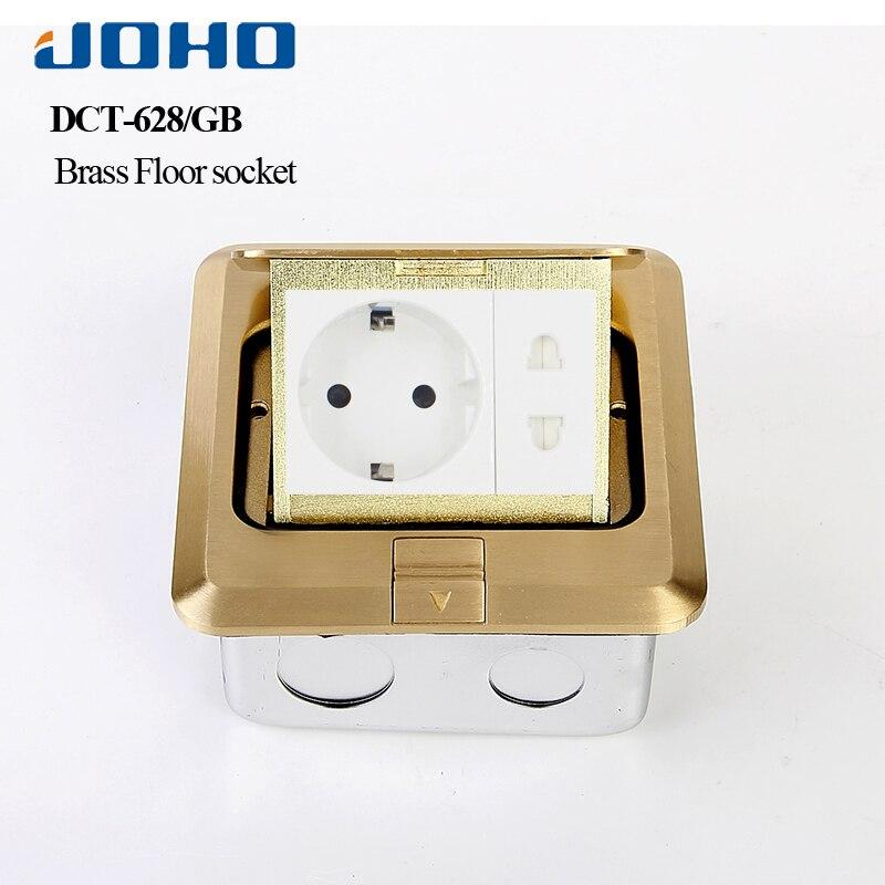 Prise JOHO Pop Up boîte de sortie de prise de sol résidentiel/usage général avec prise européenne 16A et panneau en laiton de données RJ45