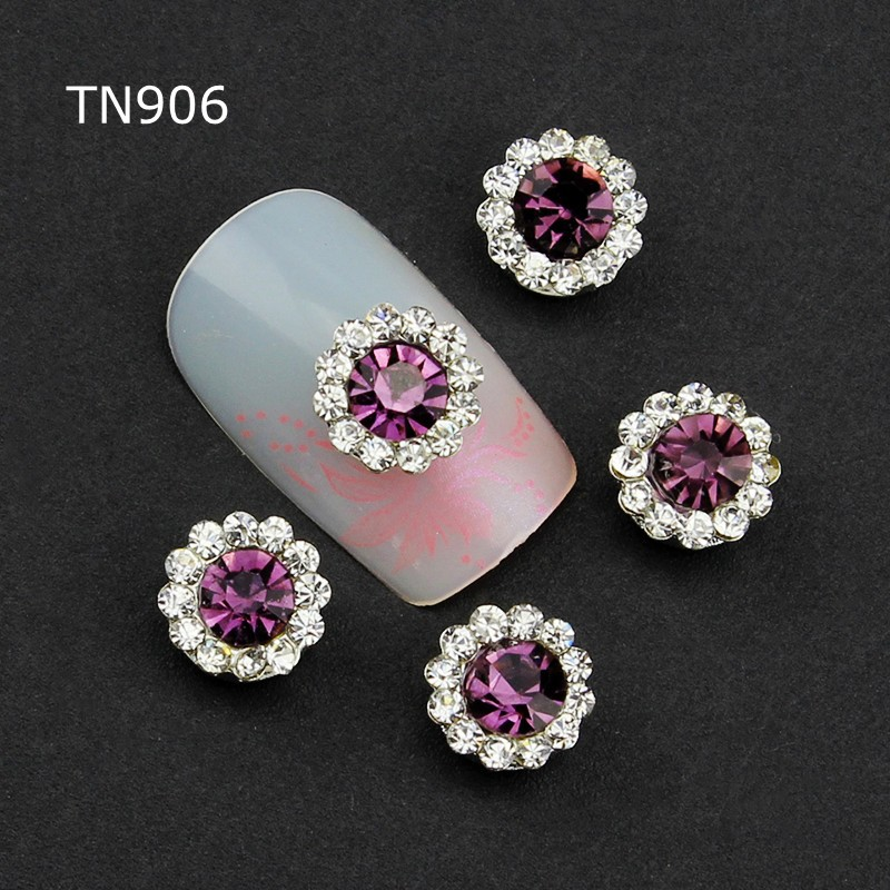 10pcs Purple Alloy Glitter 3d Nail Art Decorations with Rhinestones ,Alloy Nail Charms,Jewelry on Nails Salon Supplies TN906 charms 3d nail art decorations stud glitter gold silver caviar micro beads diy jewelry design supplies nails accessories