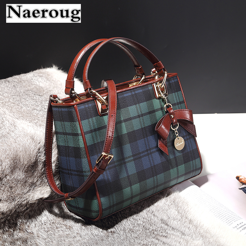 Top Quality Genuine Leather Women Handbags Plaid Stripe Tote Bag Cow Leather Top Handle Bags Bow Design Shoulder Messenger Bags