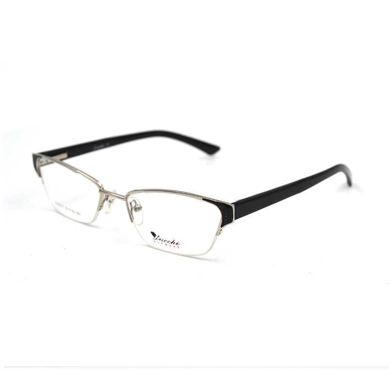 e8cde80b7d Metal Spectacle frame cat eye Glasses frame clear lens Women Men Semi Rim  brand Eyewear optical