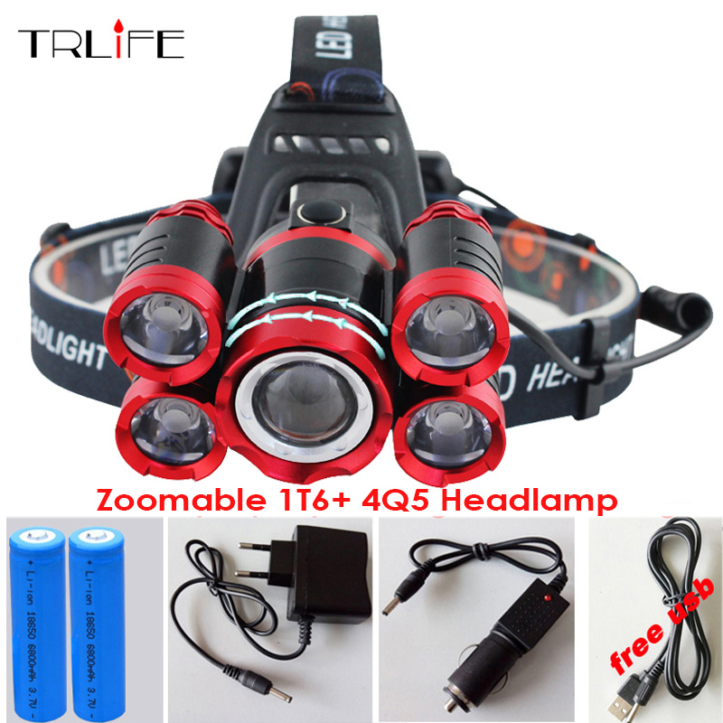 USB Headlamp 15000 Lumens CREE 5*LED XML T6 Headlight Rechargeable Head Lamp Fishing Light Outdoor Lighting+Battery+Charger