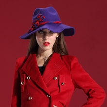 Autumn and Winter Women Hats Wool Coat & Felt Hat Natural 100% Wool Rose Wide-brim Floppy Wide Brim