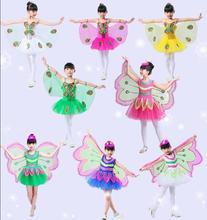 Горячая распродажа Хэллоуин Косплей Фея Ангел с крыльями тема насекомых костюм для детей девушка костюм с крыльями бабочки представление платье
