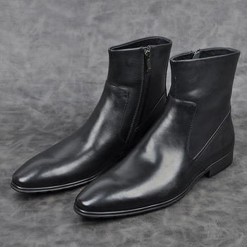New Arrival Genuine Leather Formal Dress Man High-Top Ankle Boots Pointed Toe Men's Handmade Cowboy Riding Shoes AM102