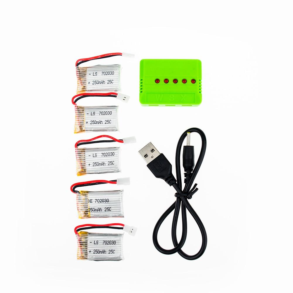 5pcs 3.7V 250mAh 25C Drone Rechargeable Li-polymer Battery 702030 + USB Charger Set For RC JJRC JJ-1000
