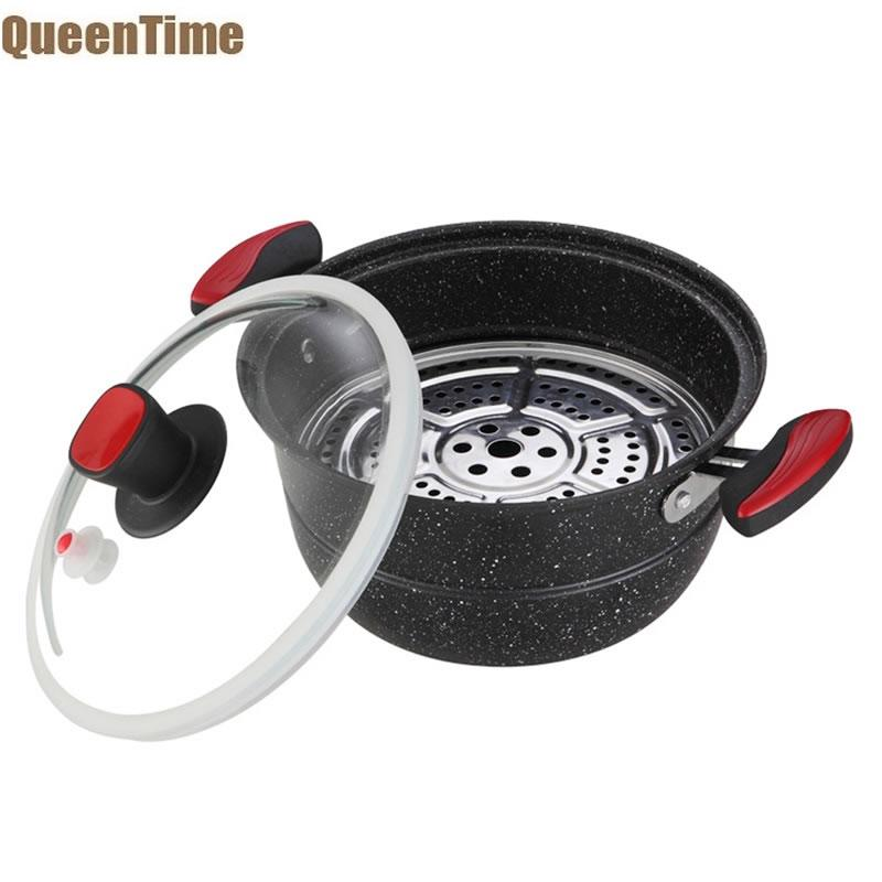 QueenTime Vacuum Pot With Steamer Non stick Cooking Pots Cast Iron Soup Sauce Pot Maifan Coating