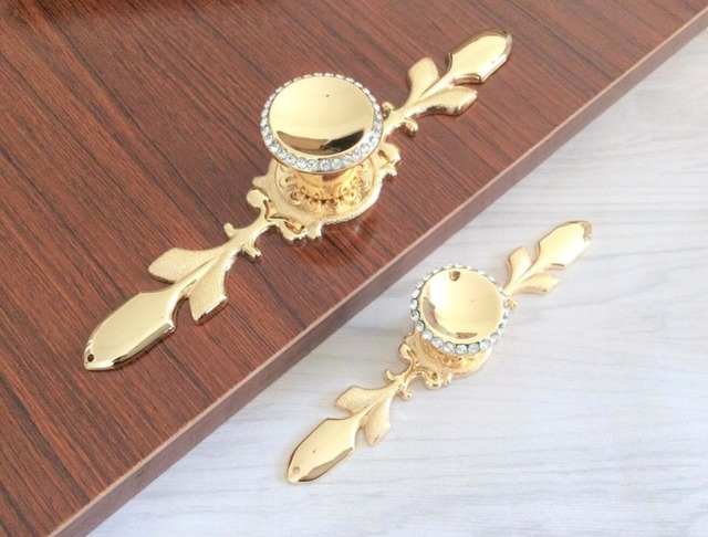 High Quality Crystal Pulls Handle Gold Drawer Knobs Glass Dresser Knobs Kitchen Cabinet  Handles Knobs Blingbling Hardware