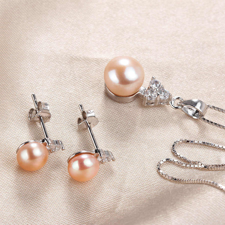 Lindo Fine Real Natural Pearl Jewelry Sets For Women Fashion Zircon Silver 925 Freshwater Pearl Earrings Necklace Small Size