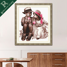 Romantic Story Sweet Little Friend Portrait Painting Home Decoration Cross Stitch Needlework DMC Cross-Stitch Embroidery Kits