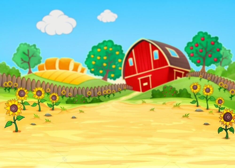 5x7FT Cartoon Farm Wood Fence Hills Red Barn Barnyard Garden Custom Photo  Studio Backdrop Background Vinyl