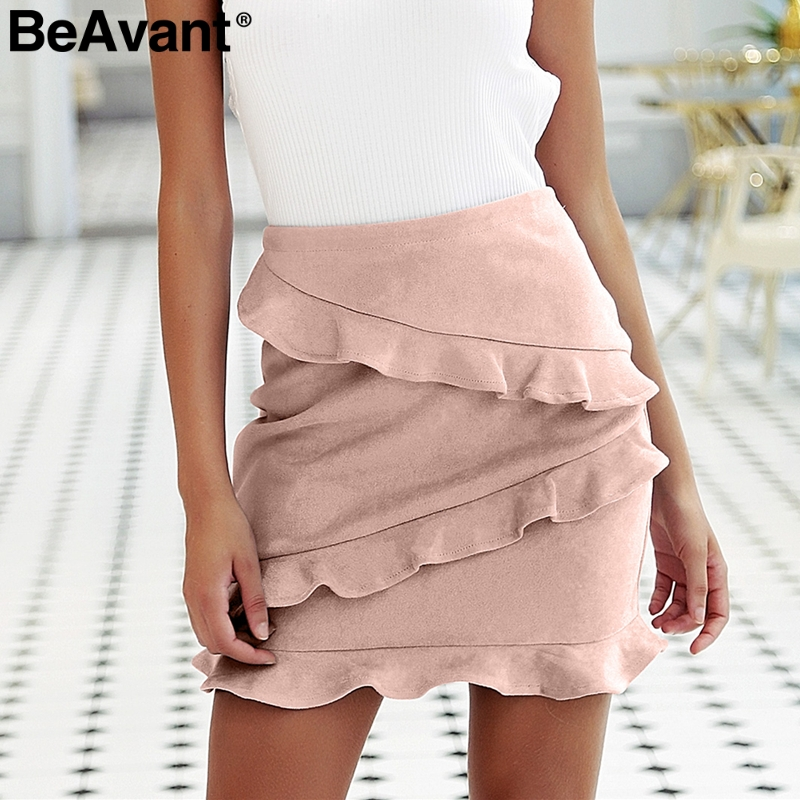 BeAvant   Leather     suede   ruffles autumn winter skirts 2018 Casual high waist short skirts Women slim trumpet skirts OL skirt female