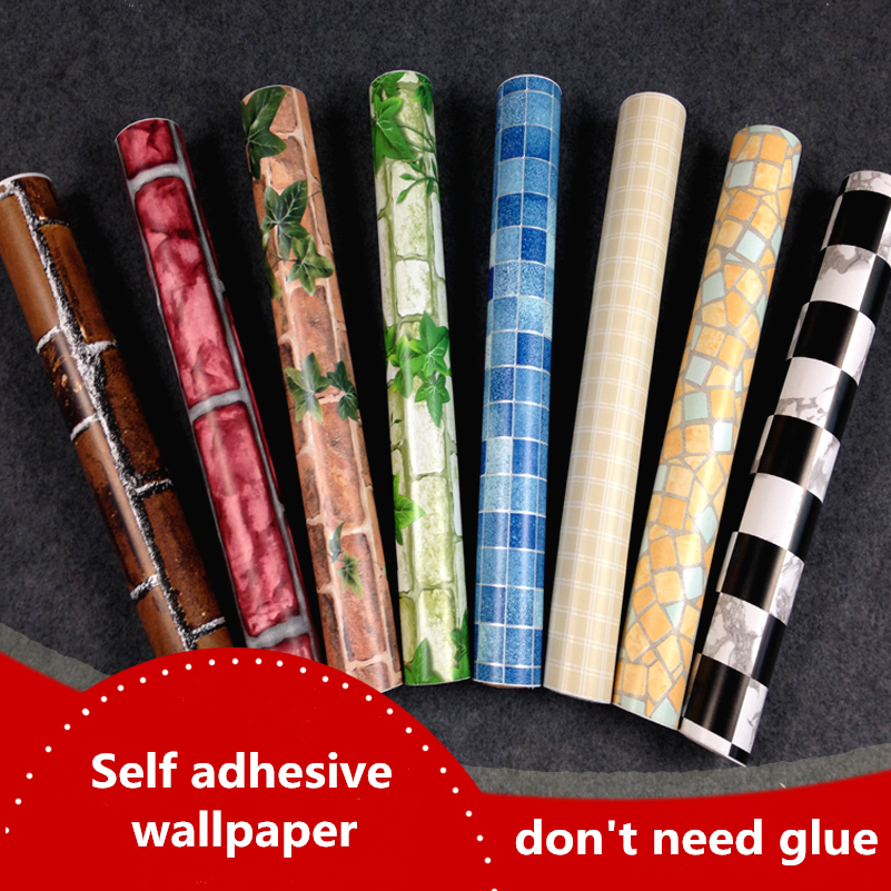 vinyl self adhesive wallpaper roll for furniture bathroom kitchen pvc stickers wall. Black Bedroom Furniture Sets. Home Design Ideas