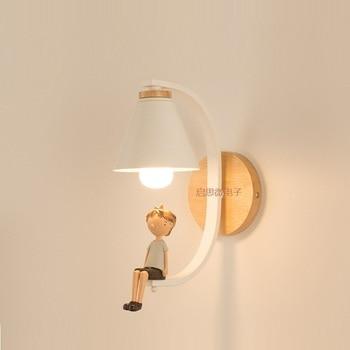 Hout Wandlampen Bed Wandlamp Wandkandelaar Moderne Wandlamp Voor Slaapkamer Nordic Creatieve Gift Kids Vriendin E27 85 -285 V