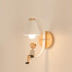 Ściana z drewna światła lampka nocna naścienna kinkiet nowoczesny kinkiet do sypialni nordycki kreatywny prezent dla dzieci dziewczyna E27 85 285V Wewnętrzne kinkiety LED    -