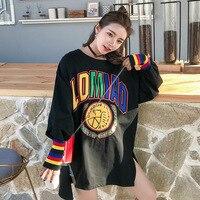 Autumn Women Plus Size Hoodies Rainbow Stripe Sleeve Long Sleeve Hoodies A Pullover Sweatshirts Kawaii Bts Kpop Clothes