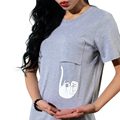 Женская футболка Мода карманные cat Мультфильм печати женские футболки Повседневная топ тис с коротким рукавом о-образным вырезом Solid Тонкий т рубашка NV30-Y