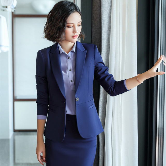 2018 female work business Women's skirt suits Set for women blazer office lady clothes Coat Jacket 2 piece suit with skirt