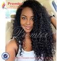Premier Pelo Peruano de la Virgen Llena Del Cordón Pelucas de Cabello Humano Rizado Afro 7A rizado Sin Cola Del Frente Del Cordón Pelucas de Pelo Humano Para Las Mujeres Negras