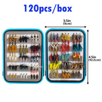 120pcs Wet Dry Fly Fishing Flies Lure Set Fly Tying Material Wet hand tied Nymph Flies for Trout Pike