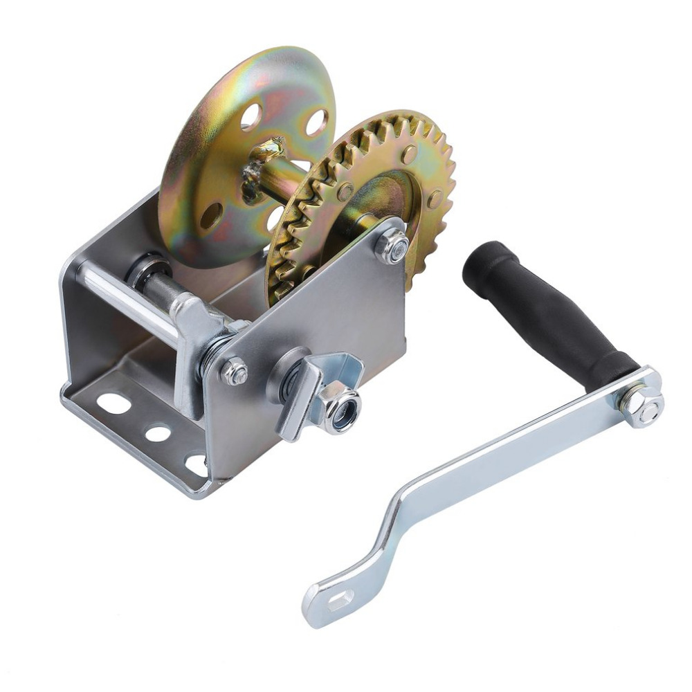 600lbs Hand Winch Capacity Marine Trailer Puller Crank A3 Steel For Boats For Caravan Without Strap Manual Operation Lift Tool