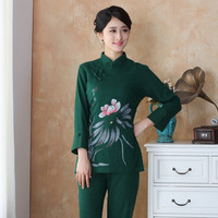 New Arrival Chinese Style Cotton Linen Female Tang Suit Tops Blouse Traditional Three Quarter Shirt Plus